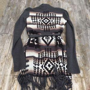 Cardigan Sweater Aztec BOHO Fringe Duster Pockets